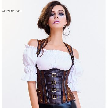 Steampunk Goth Underbust Corset Vest Sexy Brown Punk Rivets Retro Corsets and Bustiers Waist Trainer Shaper