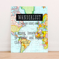 Wanderlust Definition Travel World Map Art Print,  Instant Download, Vintage World Map Printable, Colorful World Map