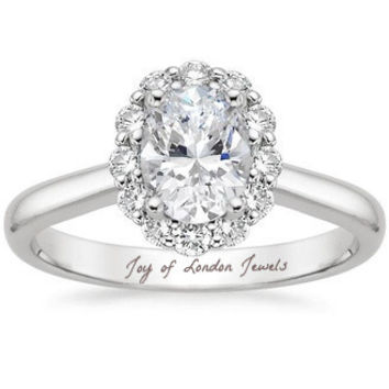 A Perfect Vintage Style 1.8CT Oval Cut Halo Russian Lab Diamond Engagement Ring