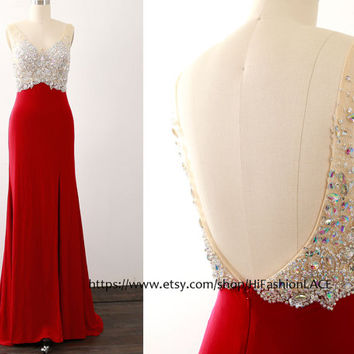 Burgundy Prom Dresses, Mermaid Jersey Straps V Neck Long Prom Gown, Evening Gown, Jersey Formal Dresses with Silt, Wedding Party Dress