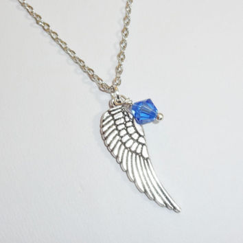 Angel Wing Necklace, Swarovski Birthstone, Birthday Gift, Silver Rhodium Plated Chain, Non-Tarnish