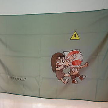 Girls are Evil Funny room basement interior decoration poster FLAG Banner 3x5