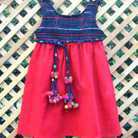 Little Girls Bohemian Style Dress Hmong Appliqued Indigo Batik And Red Cotton Braided Pom Pom Belt
