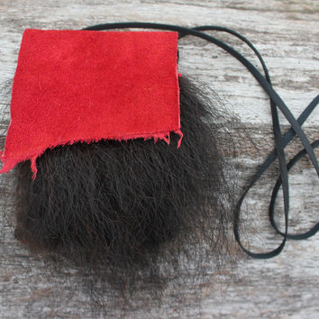 Black Bear Spirit Medicine Bag with Red Buffalo Leather, Deer Leather Lace, Natural Buffalo Fur, Shamanic Necklace Pouch