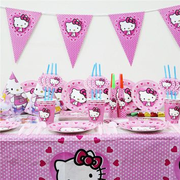 Hello kitty cat Cartoon Party Set Tableware Plate Napkins Banner Happy Birthday Candy/popcorn Box Baby Shower Party Decoration