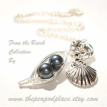 Shell charm necklace with 2 peas in a pod pick your colors - best friends - sweet pea - beach jewelry