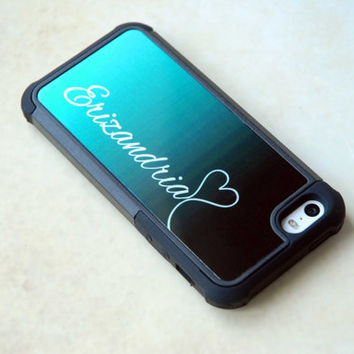 Personalized iPhone 4 iPhone 5 Samsung Galaxy S4 Galaxy S5 Phone Case - Dark Teal Ombre + Silver Monogram Hybrid Rugged