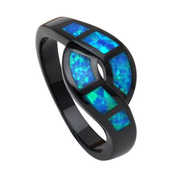 UFOORO The Newest Unique Design Wave Blue Opal Rings for Women Fashion Jewelry Party Cocktail Ring Drop Shipping