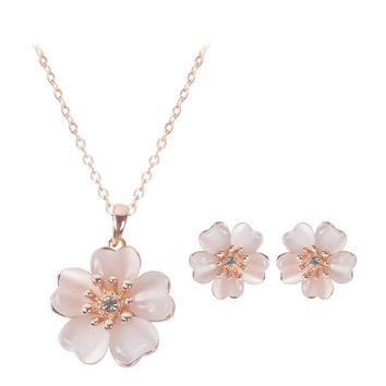 Rose Gold Crystal Opal Flower Wedding Necklace Earrings Jewelry f93419c98cdf