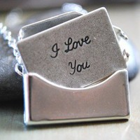 Silver Envelope and Removable I Love You Letter by paperfacestudio