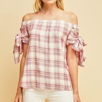 Red Check Print Off Shoulder Top