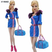 High Qulity Outfit Blue Fur Collar Airline Stewardess Dress Silk Stockings Handbag Shoes Clothes For Barbie Doll DIY Accessories