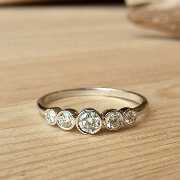 Petite 5 Stone Bezel Set Diamond Band - Custom for heybina