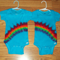 Twins Tie dye Onesuit, all sizes, Rainbow tie dye twins, tie dye baby Onesuit