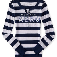 Long Sleeve Striped Aero 1987 Logo Graphic Henley