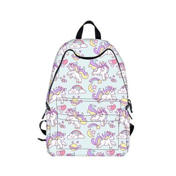 Kawaii Unicorn Backpack Rainbow Pony Horse Children School Bags Backpack for Teenager Girls Book Bag Women Knapsack Daypack
