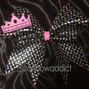 Cheer Bow - Rhinestones & holographic dot on black fabric