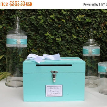 ON SALE Aqua Wedding Decor Package / Aqua Candy Buffet Jars / Robins Egg Blue Card Box / Aqua Wedding Decor
