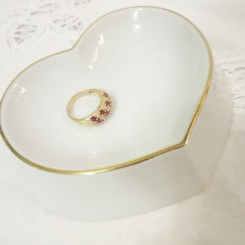 Ring Dish Bowl, Heart Shaped Gold band, Jewelry Holder, Porcelain Ceramic Pottery, Hand painted