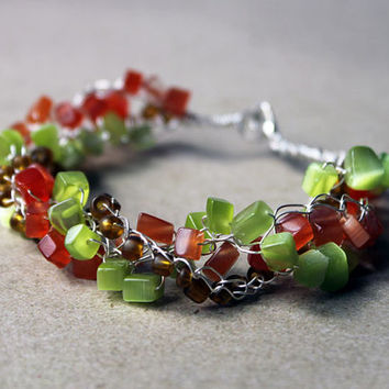 Silver twisted Wire Crochet beaded chain multi-strand bracelet with Green and Orange Cat's Eye nuggets and Brown Glass seed beads, 7(3/4)""