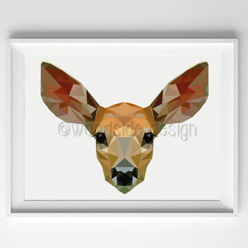 Deer Print, Low Poly Art, Deer Illustration, Fawn Print, Wildlife Picture, Wall Art, Housewarming Gift, Geometric Art, Low Poly Illustration