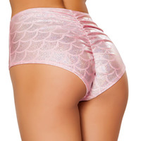 Pink High Waist Scrunch Back Mermaid Shorts