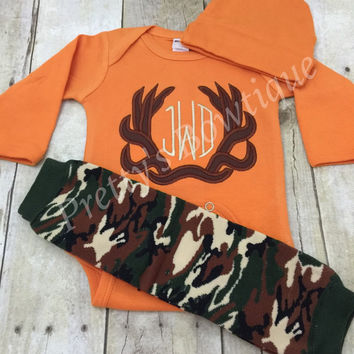 Monogram Deer Antler Bodysuit or t shirt, legwarmers and headband  - Can customize colors