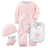 Carter's Girls 4 Piece Light Pink Printed Convertible Coverall/Gown with Hat, Slogan Bib and Faux Mary Jane Socks Set
