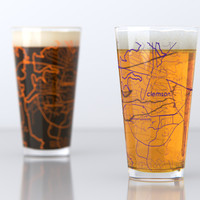 Clemson, SC - Clemson University - College Town Map Pint Glass Set