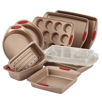 Rachael Ray Cucina Nonstick Bakeware 10-Piece Set, Latte Brown with Cranberry Red Handle Grips - Walmart.com