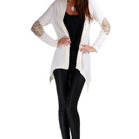 White Long Sleeve with Elbow Patch Cardigan