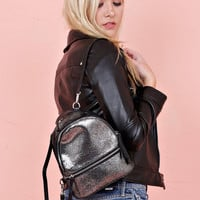 JULES KAE | Kelly Small Leather Backpack - Metallic Stingray