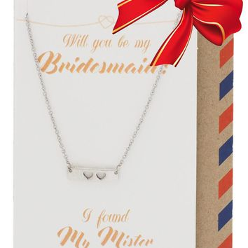 Juliet Two Hearts Bar Necklace for Bridesmaid, Wedding Jewelry