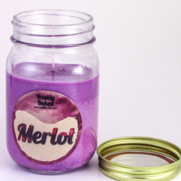 Merlot Wine Soy Wax Candle (No Phthalates, Vegan, Hand Poured, Mason Jar), 10 oz. Smells like the Red Wine w/ Grape & Plum notes