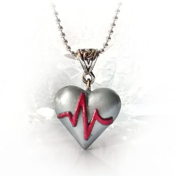 ECG heart necklace, heart attack / disease awareness, hear beat necklace, medicine doctor nurse survivor get well gift