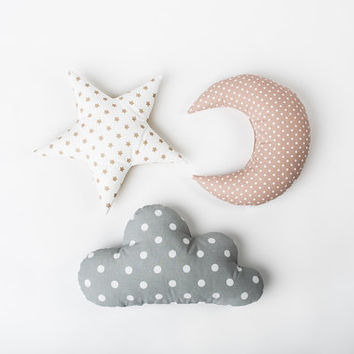 Pillow set Cloud Star Moon shaped pillow - Pastel nursery room decor - Baby gift - Kids cushion