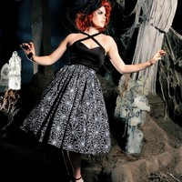 Vintage Goth Pinup Capsule Collection - Jenny Gathered Full Skirt in Spiderweb Print