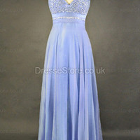 A-line Halter Chiffon Floor-length Lilac Beading Evening Dress at dressestore.co.uk