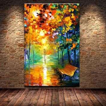 Large Hand Painting Oil Painting On Canvas The Bench Evening Rain Lover Modern Abstract Wall Picture For Living Room Home Decor