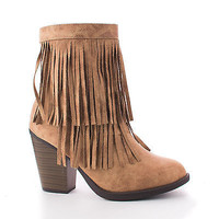 Strong Natural Pu By Soda, Round Toe Layered Fringe Stacked Heel Ankle Bootie