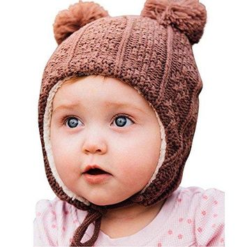 Twinklebelle Baby Toddler Kids Fall Winter Ear-Flap Beanie Hat (S: 3-9 Months, Brown Bear): Clothing