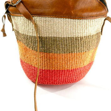 Citrus Striped Sisal Kiondo with Leather Trim Tote Bag