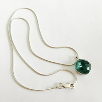 Faceted, Square Emerald Green Colored Gemstone Hanging from 16 Inch Italian Sterling Snake Chain, Sparkling Dark Green Stone, May Birthstone
