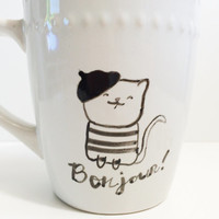 Bonjour french cat mug. Hand painted coffee cup.
