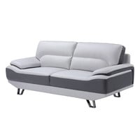 Global U7330-R6U6-S Sofa in Light Grey & Dark Grey Leather