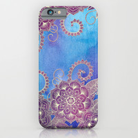 Magnolia & Magenta Floral on Watercolor iPhone & iPod Case by Micklyn