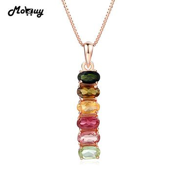 MoBuy MBNI048 Multicolor Six Stones Natural Gemstone Tourmaline Necklace & Pendant 925 Sterling Silver Rose Gold Plated Jewelry