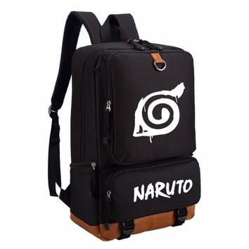 Anime Naruto write round eyes backpack fashion casual backpack teenagers Men women's Student School Bags travel Laptop Bag