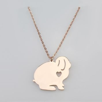 Hot Selling Lovely Bunny Necklace Personalized  Rabbit Gifts Bunny Jewelry Stainless Steel Pendand Necklace