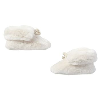 Ankle Tassel Faux-Fur Booties, Polar Bear
